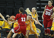 February 11 2013: Nebraska Cornhuskers forward Hailie Sample (3), Nebraska Cornhuskers guard Brandi Jeffery (13), Iowa Hawkeyes guard Jaime Printy (24), and Iowa Hawkeyes guard Melissa Dixon (21) battle for a lose ball during the first half of the NCAA women's basketball game between the Nebraska Cornhuskers and the Iowa Hawkeyes at Carver-Hawkeye Arena in Iowa City, Iowa on Monday, February 11 2013.