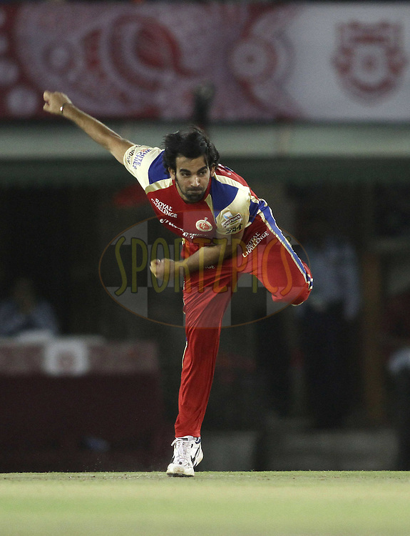 Zaheer Khan of the Royal Challengers Bangalore sends down a delivery during match 25 of the the Indian Premier League (IPL) 2012  between The Kings X1 Punjab and The Royal Challengers Bangalore India held at the Punjab Cricket Association Stadium, Mohali on the 20th April 2012..Photo by Shaun Roy/IPL/SPORTZPICS