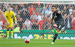 STOKE-ON-TRENT, ENGLAND - Sunday, August 9, 2015: Liverpool's Dejan Lovren in action against Stoke City during the Premier League match at the Britannia Stadium. (Pic by David Rawcliffe/Propaganda)
