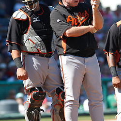 March 7, 2011; Fort Myers, FL, USA; Baltimore Orioles manager Buck Showalter calls for a new pitcher from the bullpen during a spring training exhibition game against the Boston Red Sox at City of Palms Park.   Mandatory Credit: Derick E. Hingle