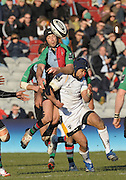 Twickenham, GREAT BRITAIN, left Quins Hal LUSCOMBE contest the high ball with Warriors, Sam TUITUPOU, during the Guinness Premiership match, Harlequins vs Worcester Warriors, played at the Twickenham Stoop on Sat. 16th Feb 2008.  [Mandatory Credit, Peter Spurrier/Intersport-images]