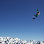 Dina Treland, Norway,  in action during the Snowboard Slopestyle Ladies competition at Snow Park, New Zealand during the Winter Games. Wanaka, New Zealand, 21st August 2011. Photo Tim Clayton