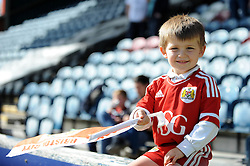 A young Bristol City fan at Rochdale AFC, Spotland Stadium - Photo mandatory by-line: Dougie Allward/JMP - Mobile: 07966 386802 23/08/2014 - SPORT - FOOTBALL - Manchester - Spotland Stadium - Rochdale AFC v Bristol City - Sky Bet League One