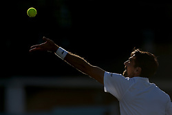 Jeremy Chardy prepares to serve during day five of the Fever-Tree Championship at the Queen's Club, London.