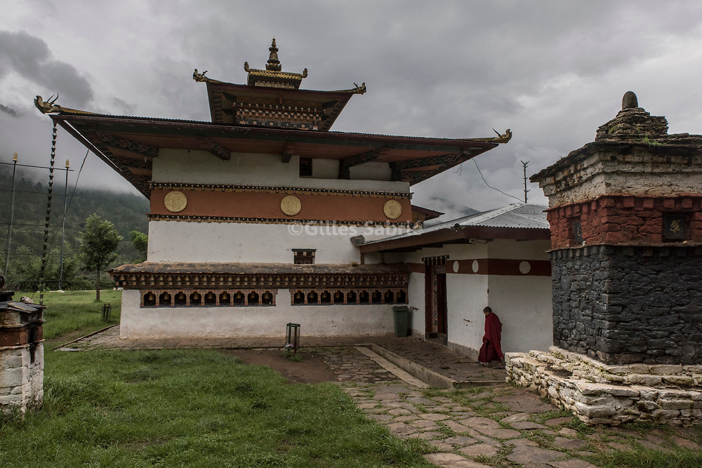For a story by Steven Lee Myers, Bhutan<br /> Lobesa, Bhutan, August 2nd, 2017<br /> Chimi Lhakhang monastery, built on the site where it is said that Lama Drukpa Kunley  popularly known as the &ldquo;Divine Madman&quot;  subdued a demon with his &ldquo;magic thunderbolt of wisdom&rdquo;. <br /> The Bhutanese tradition of using phallic symbols as a protection from evil spirits is linked to Lama Kunley, but find its origins in the Bon religion that predated Buddhism in Bhutan.<br /> Gilles Sabri&eacute; pour The New York Times