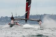 Emirates Team New Zealand testing on the Hauraki Gulf in their AC45 surrogate catamaran. Emirates Team New Zealand testing on the Hauraki Gulf in their AC45 surrogate catamaran.