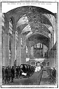 Albert (1819-1861) Consort of Queen Victoria from 1840. Funeral procession in nave of St George's Chapel, Windsor. From first issue of 'The Illustrated London News' after Albert's death 14 December 1861. Black border denoting the nation's mourning