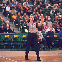 Referee during the Women's Basketball Home Game on Fri Feb 01 at Centre for Kinesiology,Health and Sport. Credit: Arthur Ward/Arthur Images
