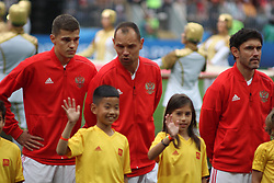 June 14, 2018 - Moscow, Russia - Russian Federation. Moscow. The Luzhniki Stadium. Match Opening of the World Cup 2018. Russia - Saudi Arabia. Solemn opening ceremony of the FIFA World Cup 2018. FIFA World Cup 2018. Player of the Russian national football team (in red)..Sergey Ignashevich. (Credit Image: © Russian Look via ZUMA Wire)