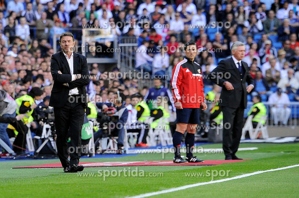 05.04.2015, Estadio Santiago Bernabeu, Madrid, ESP, Primera Division, Real Madrid vs FC Granada, 29. Runde, im Bild Real Madrid&acute;s coach Carlo Ancelotti and Granada&acute;s coach Abel Resino // during the Spanish Primera Division 29th round match between Real Madrid CF and Granada FC at the Estadio Santiago Bernabeu in Madrid, Spain on 2015/04/05. EXPA Pictures &copy; 2015, PhotoCredit: EXPA/ Alterphotos/ Luis Fernandez<br /> <br /> *****ATTENTION - OUT of ESP, SUI*****