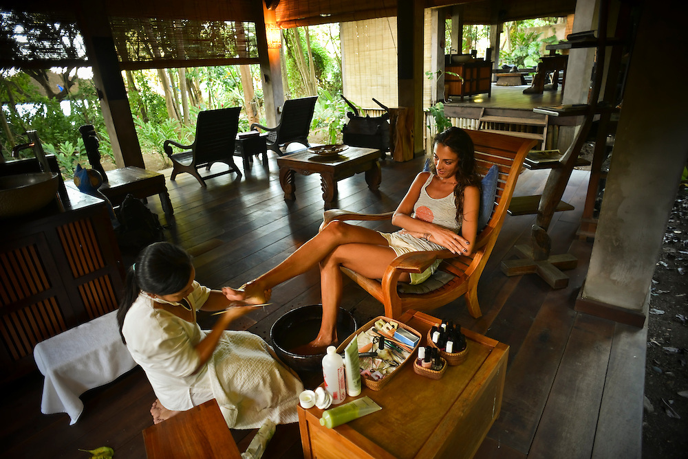 Medea Burkley, 31, from Brooklyn, enjoys a pedicure at the spa at Laluna, a discrete, Italian-owned resort with 16 cottages, plus a restaurant, spa and private beach in Morne Rouge, St George's in Grenada. Cottage suites are available from $495 in the winter.