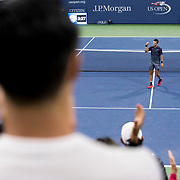 August 30, 2017 - New York, NY : Borna Coric celebrates after defeating Alexander Zverev, not visible, in the Grandstand on the third day of the U.S. Open, at the USTA Billie Jean King National Tennis Center in Queens, New York, on Wednesday evening. <br /> CREDIT : Karsten Moran for The New York Times