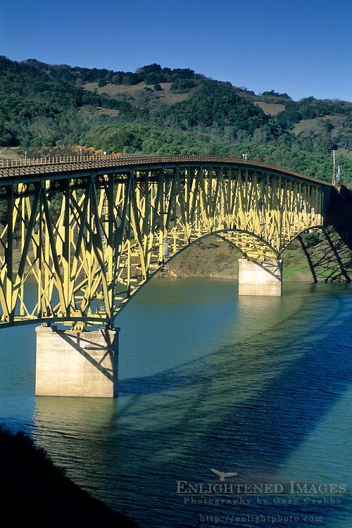 Steel Arch bridge over Lake Sonoma, Sonoma County, California