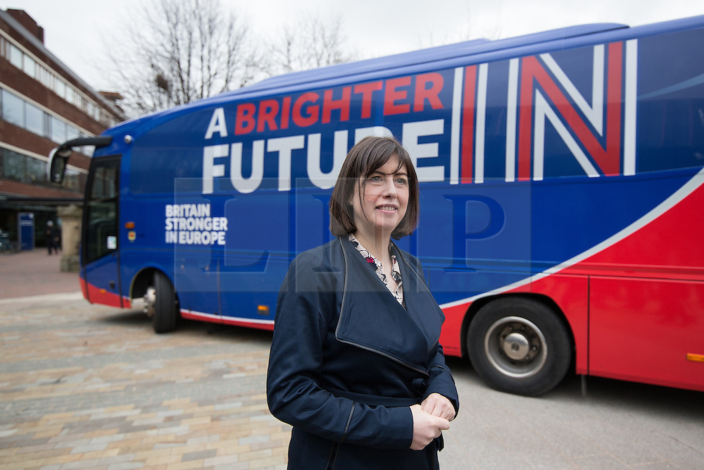"© Licensed to London News Pictures . 15/04/2016 . Manchester , UK . LUCY POWELL MP visits Manchester Metropolitan University Business School to campaign for the "" Britain Stronger in Europe "" campaign . Photo credit: Joel Goodman/LNP"