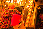 02 JUNE 2011 - ALPINE, AZ: Jim Pinter tops off his gas tank before evacuating at the Wallow Fire near Alpine. High winds and temperatures complicated firefighters' efforts to get the blaze under control. Officials have issued a mandatory evacuation order and residents of the Alpine area had to leave by 8PM Thursday.  PHOTO BY JACK KURTZ