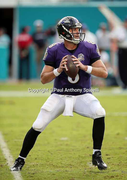 Baltimore Ravens quarterback Matt Schaub (8) drops back to pass during the 2015 week 13 regular season NFL football game against the Miami Dolphins on Sunday, Dec. 6, 2015 in Miami Gardens, Fla. The Dolphins won the game 15-13. (©Paul Anthony Spinelli)
