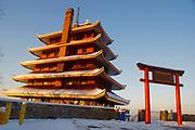 Pagoda, morning light and snow, Mt. Penn, Reading PA