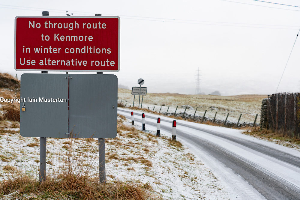 Amulree, Perthshire, Scotland, UK. 16th Dec 2019. Warning sign on single-track U173 Kenmore to Amulree road seen during a wintry snow fall today. Police and Perth and Kinross Council plan to close a five-mile long stretch of the scenic road through Glen Quaich for 17 weeks from 23 Dec 2019 because it is too dangerous in snow and ice. The road through Glen Quaich is regarded as one of the most picturesque, and dangerous, in Perthshire. Iain Masterton/Alamy Live News