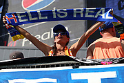 An FC Cincinnati fan gestures during a MLS soccer game, Sunday, Aug 25th, 2019, in Cincinnati, OH. (Jason Whitman/Image of Sport)
