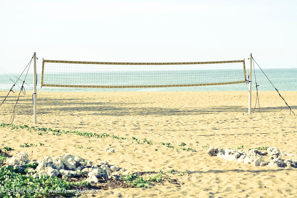 Volleyball net on beach
