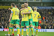 Norwich City midfielder Robbie Brady and Norwich City forward Alex Pritchard celebrate the third Norwich goal during the EFL Sky Bet Championship match between Norwich City and Brentford at Carrow Road, Norwich, England on 3 December 2016. Photo by Nigel Cole.