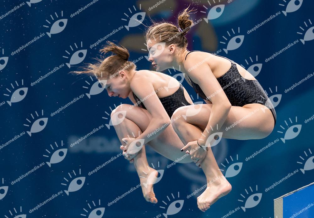LIULKO Valeriia LYSKUN Sofiia UKR<br /> Diving<br /> Women's 1om platform final<br /> 16/07/2017 <br /> XVII FINA World Championships Aquatics<br /> Duna Arena<br /> Photo @ Giorgio Perottino/Deepbluemedia/Insidefoto