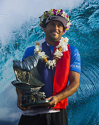 December 18, 2017 - Banzai Pipeline, HI, USA - BANZAI PIPELINE, HI - DECEMBER 18, 2017 - Jeremy Flores of France after winning the Billabong Pipe Masters. Flores beat John John Florence of Hawaii in the final. Florence won the World Surfing League world title. (Credit Image: © Erich Schlegel via ZUMA Wire)