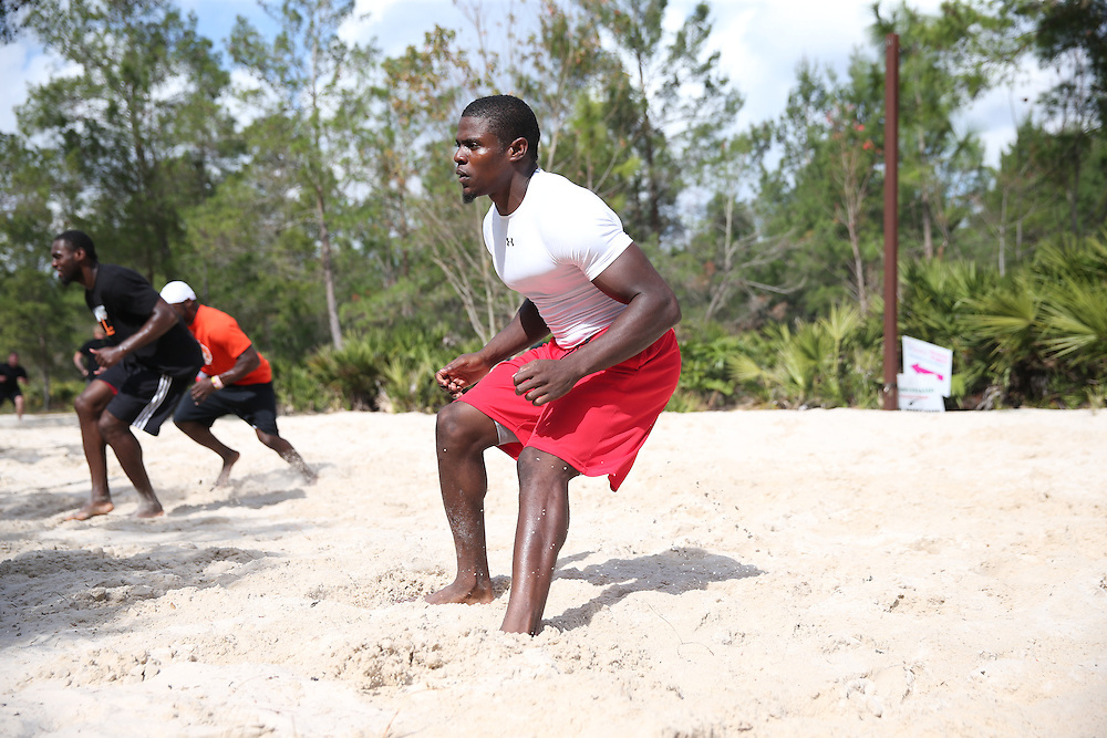 FEB  5 2014: LaMarcus Joyner, cornerback from Florida State  trains for the NFL Scouting Combing with Coach Tom Shaw at his facility at Disney's Wide World of Sports in Orlando, Florida. Photo by Tom Hauck.