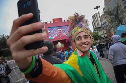 June 14, 2018 - Sao Paulo, Brazil - Brazilian fans accompany the opening of the Fifa world cup in big screen installed in the valley of the Anhangabau in the center of the city (Credit Image: © Dario Oliveira via ZUMA Wire)