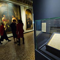 VENICE, ITALY - NOVEMBER 23:  The Will of Lorenzo Lotto is  seen at the press preview of Tribute to Lorenzo Lotto - The Hermitage Paintings at Accademia Gallery on November 23, 2011 in Venice, Italy. The exhibition which includes two very rare & never seen before paintings opens from the 24th November 2011 to 26th February 2012 in Italy.