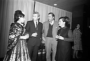 09/02/1966<br /> 02/09/1966<br /> 09 February 1966<br /> Airborne Travel Agency Film Reception at the Irish Sugar Co. Theatre at Earlsfort Terrace,<br /> Dublin. Pictured prior to the continental film show were (l-r): Miss Adelina Tost, Spanish Student; Mr. E.P. O'Brien, Director English Language Studies (school for teaching English to foreign students); Baron Michael Raben (Director, Airborne Travel Agency) and Mrs Gemma Moran, Director of English Language Studies.