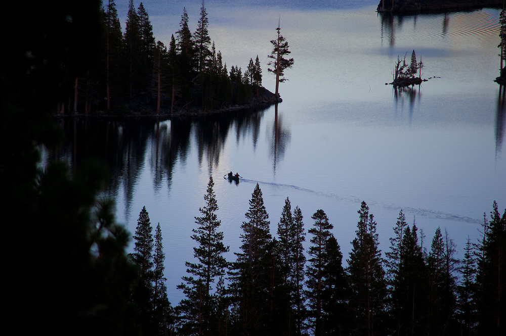 At sunset a canoe crosses Upper Echo Lake in the Desolation Wilderness on August 22, 2010.