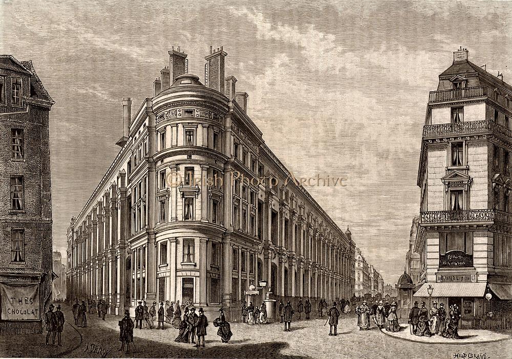 French postal service. The new main Post Office, rue du Louvre, Paris, France. Engraving from 'Le Journal de la Jeunesse' (Paris, 1886).