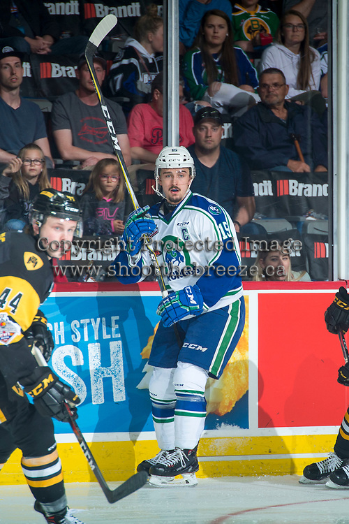 REGINA, SK - MAY 21: Glenn Gawdin #15 of Swift Current Broncos skates against the Hamilton Bulldogs at the Brandt Centre on May 21, 2018 in Regina, Canada. (Photo by Marissa Baecker/CHL Images)