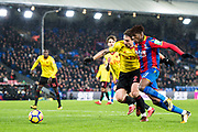 Crystal Palace #11 Wilfried Zaha assist to 2nd goal for Crystal Palace during the Premier League match between Crystal Palace and Watford at Selhurst Park, London, England on 12 December 2017. Photo by Sebastian Frej.