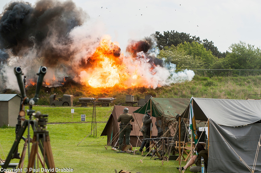 Battle Pyrotechnics finale to the Northern World War II Association Take Part in Battle re-enactment at Fort Paull <br /> Bank Holiday Monday May 5 2014<br /> Image &copy; Paul David Drabble <br /> www.pauldaviddrabble.co.uk