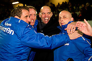 Onderwerp/Subject: Willem II - Jupiler League<br /> Reklame:  <br /> Club/Team/Country: Willem II<br /> Seizoen/Season: 2011/2012<br /> FOTO/PHOTO: Willem II's Coach Jurgen STREPPEL (C) celebrating the victory with Willem II's Condition Trainer Henri VAN AMELSFORT (LL) and Willem II's Assistant Coach John FESKENS (L) and Willem II's Goalkeeper Trainer Raymond VISSER (R). (Photo by PICS UNITED)<br /> <br /> Trefwoorden/Keywords:  <br /> #02 $94 ±1324459613958<br /> Photo- & Copyrights © PICS UNITED <br /> P.O. Box 7164 - 5605 BE  EINDHOVEN (THE NETHERLANDS) <br /> Phone +31 (0)40 296 28 00 <br /> Fax +31 (0) 40 248 47 43 <br /> http://www.pics-united.com <br /> e-mail : sales@pics-united.com (If you would like to raise any issues regarding any aspects of products / service of PICS UNITED) or <br /> e-mail : sales@pics-united.com   <br /> <br /> ATTENTIE: <br /> Publicatie ook bij aanbieding door derden is slechts toegestaan na verkregen toestemming van Pics United. <br /> VOLLEDIGE NAAMSVERMELDING IS VERPLICHT! (© PICS UNITED/Naam Fotograaf, zie veld 4 van de bestandsinfo 'credits') <br /> ATTENTION:  <br /> © Pics United. Reproduction/publication of this photo by any parties is only permitted after authorisation is sought and obtained from  PICS UNITED- THE NETHERLANDS
