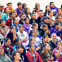 050113       Brian Leddy<br /> Students cheer on fellow performers during the Dine Language and Culture Festival Thursday in Thoreau.