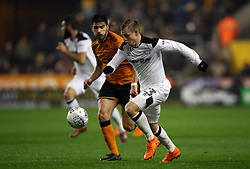 Wolverhampton Wanderers' Ruben Neves and Derby County's Matej Vydra battle for the ball