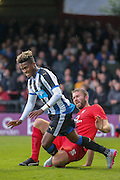 John McCoombe tackles Rolando Aarons during the Pre-Season Friendly match between York City and Newcastle United at Bootham Crescent, York, England on 29 July 2015. Photo by Simon Davies.