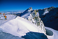 Skiers hiking up to Blackcomb Glacier, Blackcomb Mountain, Whistler Blackcomb ski resort, British Columbia, Canada