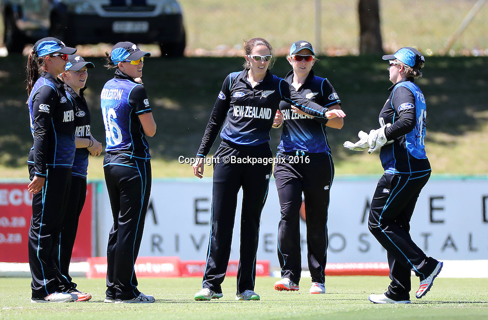 Amy Satterthwaite of New Zealand (c) celebrates with her teammates after taking the wicket of Ayabonga Khaka of South Africa during the 2016 International ODI Womens cricket match between South Africa and New Zealand at Boland Park, Paarl on 16 October 2016 ©Chris Ricco/BackpagePix
