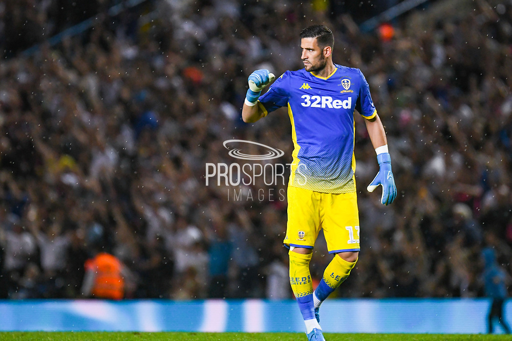 Leeds United goalkeeper Francisco Casilla (13) reacts to Leeds United forward Helder Costa (17) scoring a goal to make the score 2-2 during the EFL Cup match between Leeds United and Stoke City at Elland Road, Leeds, England on 27 August 2019.