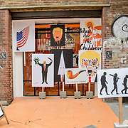 """London, England, UK. 27 May 2019. Edel Rodriguez is a Cuban artist of Trump Arts racist of """"Fire and Fury"""" at Hanbury Street."""