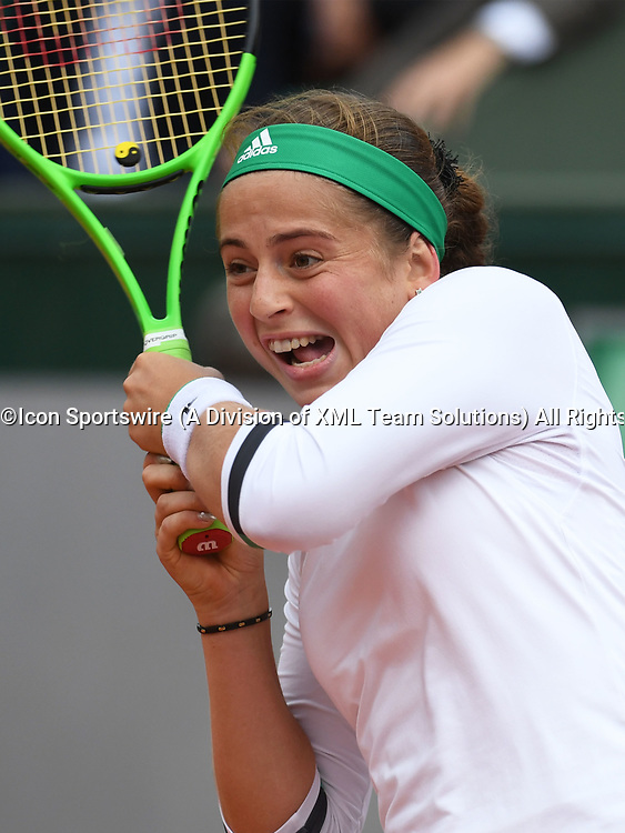 PARIS, FRANCE - JUNE 06: Jelena Ostapenko (LAT) in action during the 2017 French Open on June 6, 2017, at Stade Roland-Garros in Paris, France. (Photo by Cynthia Lum/Icon Sportswire)