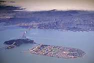 Aerial over Treasure Island, San Francisco Bay, and downtown San Francisco, California (c.2003)