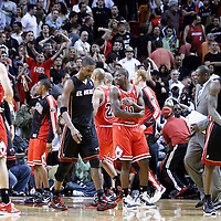 06 March 2010:  Miami Heat power forward Chris Bosh (1) and Miami Heat small forward LeBron James (6) looks dejected as they leave th court following the Chicago Bulls 87-86 victory over the Miami Heat at the AmericanAirlines Arena, Miami, Florida, USA.