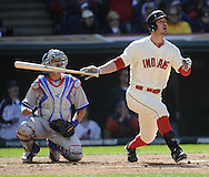 CLEVELAND, OH USA - APRIL 5:  Cleveland's Jack Hannahan hits a three run  home run in the second inning in the game between the Cleveland Indians and Toronto Blue Jays at Progressive Field in Cleveland, OH, USA on Thursday, April 5, 2012.