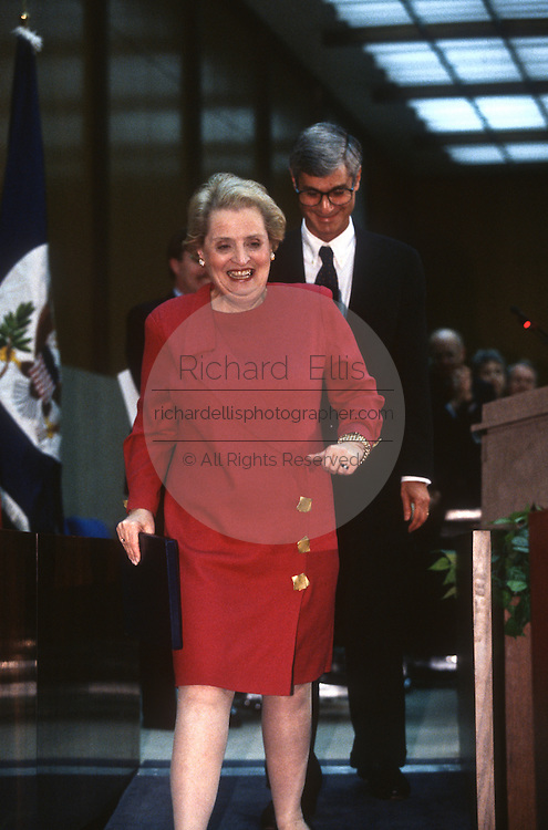 US Secretary of State Madeleine Albright with Treasury Secretary Robert Rubin during an event February 14, 1997 In Washington, DC.