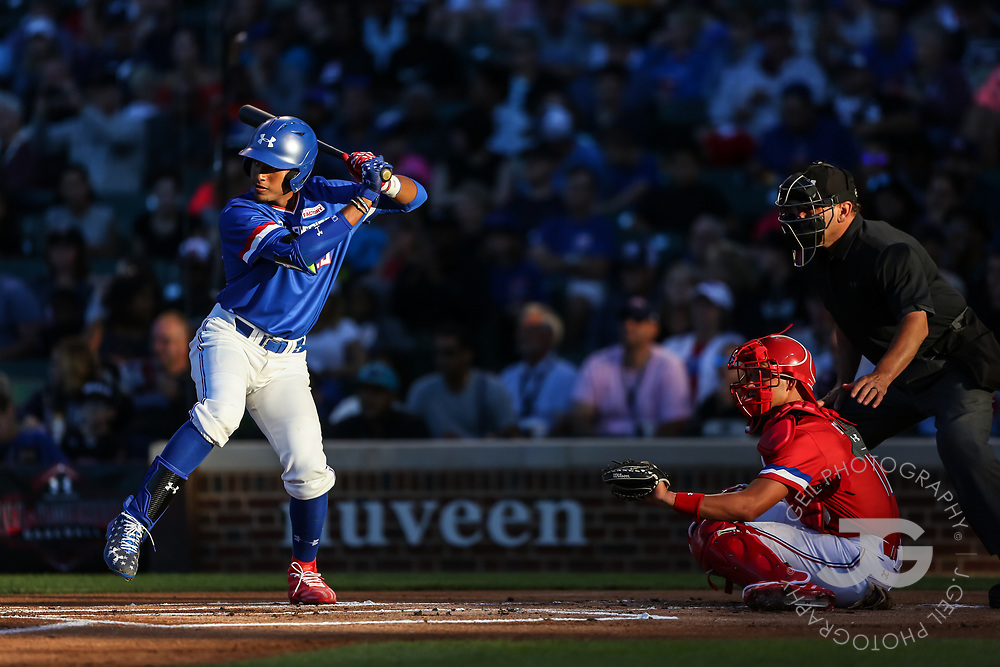 CHICAGO, IL - JULY 29:  Nander De Sedas at the plate during the Under Armour All-America Game at Wrigley Field on Saturday, July 29, 2017 in Chicago, Illinois. (Photo by J. Geil/MLB Photos via Getty Images) *** Local Caption ***